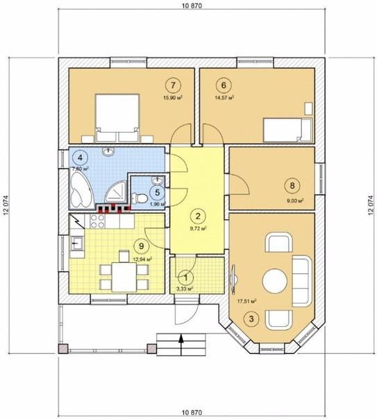 Эскиз проекта кирпичного дома